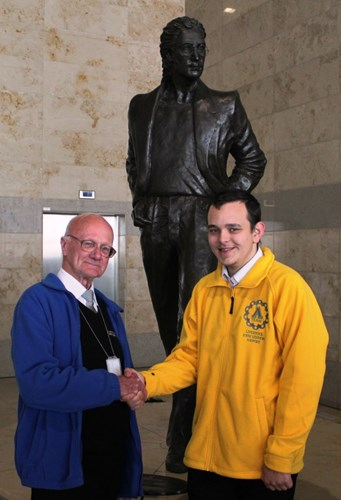 LJLA's oldest volunteer, 81 year old Cliff Johnson from the Friends of Liverpool Airport welcomes its newest and youngest volunteer, 17 year old 'A-Team' member Josh Kavanagh.