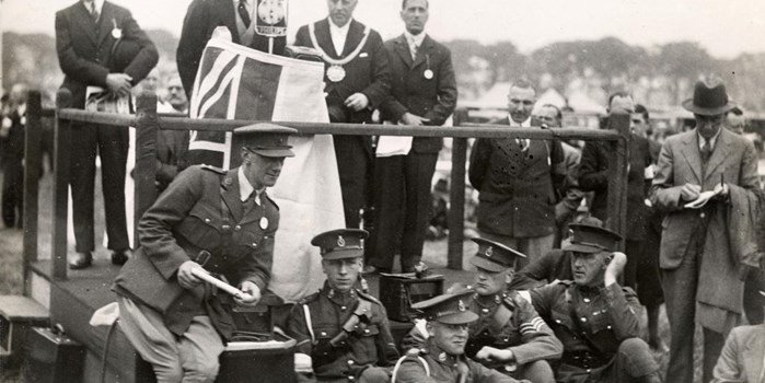 The Right Honourable The Marquis of Londonderry making his speech at the opening ceremony in 1933 with the Lord Mayor of Liverpool, Cllr Alfred Gates.