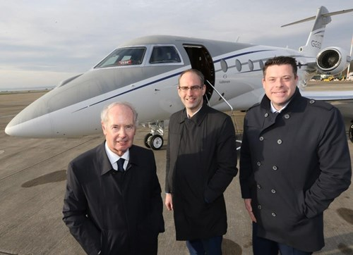 Photo caption:  (L to R): Sir Peter Rigby, Chairman of the Rigby Group with LJLA CEO John Irving and Gavin Thompson, Gulfstream Regional Sales Manager for Europe, Russia & C.I.S