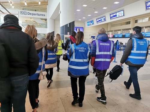 employability course students on their tour of Liverpool Airport