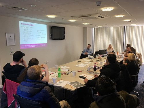 Andrew Hepworth Health and Safety workshop with the students